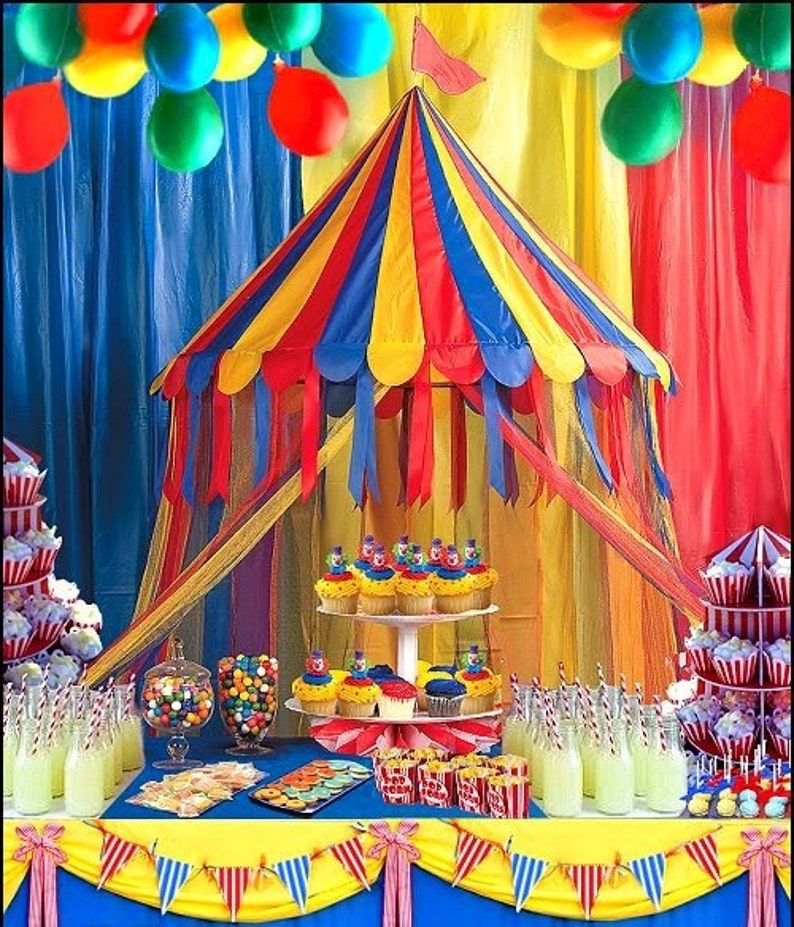 1 Carnival Party Buffet Table Hanging Decoration Circus Etsy