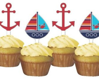 12 /Ahoy Matey Cupcake Toppers