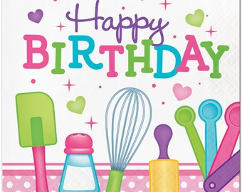 My Sweet Baker Happy Birthday Lunch Napkins / Baking party / Chef party/ Chef / Baking / Little Chef party / Little Chef