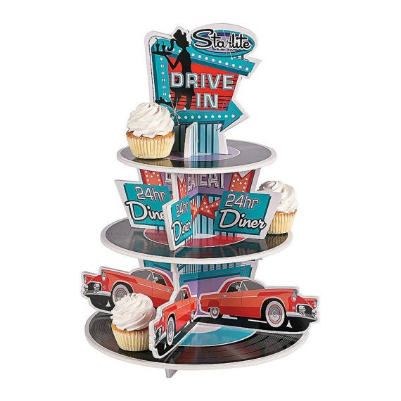 The Great 50 S Cupcake Holder Centerpiece Treat Holder Centerpiece 50 S Theme Party Rock And Roll Theme
