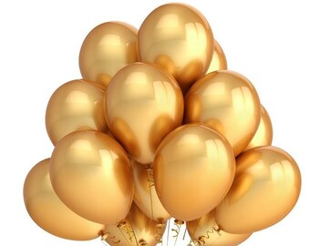 Metallic Chrome Gold Latex Balloons/ Gold party balloons/chrome balloons /Metallic Gold Balloon /