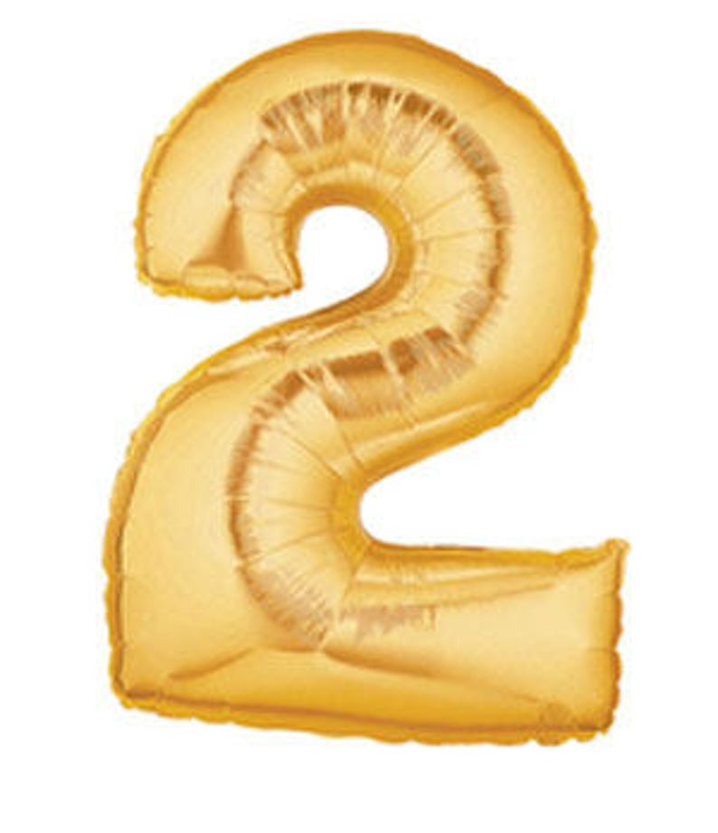 40  Number Two Gold balloon gold  2 Gold Balloon two gold balloon  gold two balloon