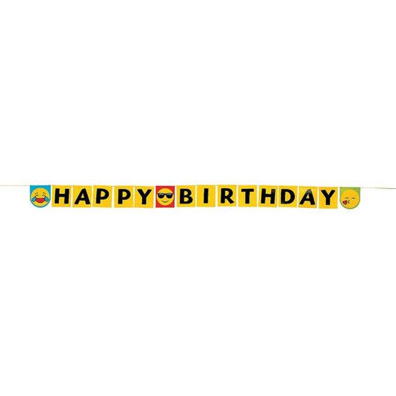 Emoji Party Happy Birthday Banner Hanging