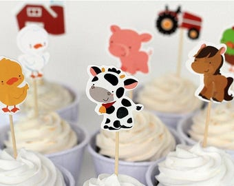 12/ Farm Cupcake toppers/ cupcake picks / farm theme/ farm cupcake picks / farm/ party picks / food picks