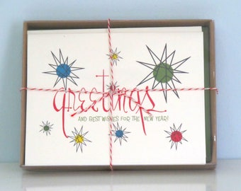 boxed set 8 christmas cards mid century atomic starbursts holiday greetings by writeables