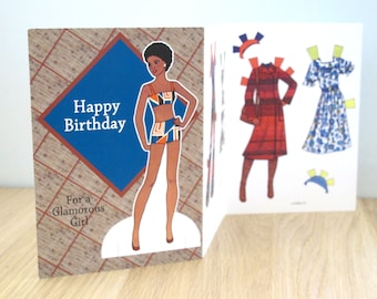 Vintage Style Paper Doll Birthday Greeting Card