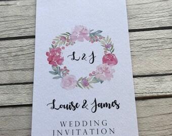 1 Rustic/Vintage/Shabby Chic Floral Peony Luggage Tag Wedding Invitation