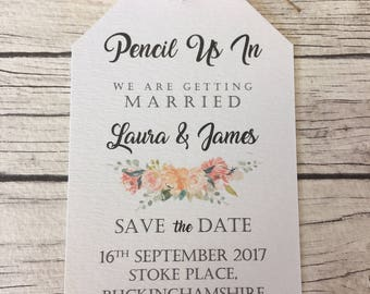 Vintage/Rustic Peach Floral Pencil us in Wedding Save the Date tags