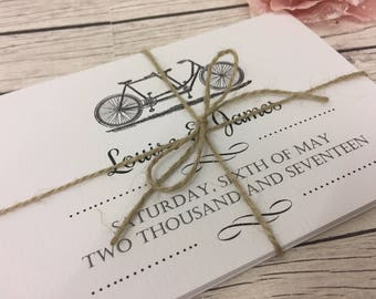 1 Rustic/Vintage/Shabby Chic Bicycle Wedding Invitation Sample - Concertina fold