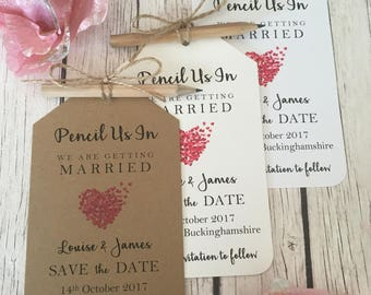 Vintage/Rustic Pencil Us In Vintage/Rustic Heart Wedding Save the Date tags, pencil, twine