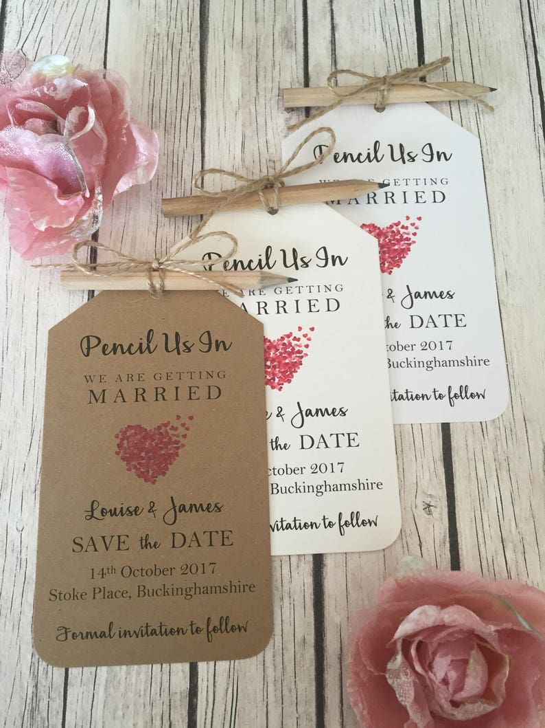 Save the Date Vintage/Rustic Pencil Us In Vintage/Rustic Heart image 0
