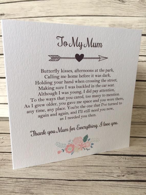 Vintage/Rustic 'To My Mum' Wedding Day Poem Card