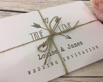 1 Rustic/Vintage/Shabby Chic True Love Wedding Invitation Sample - Concertina fold