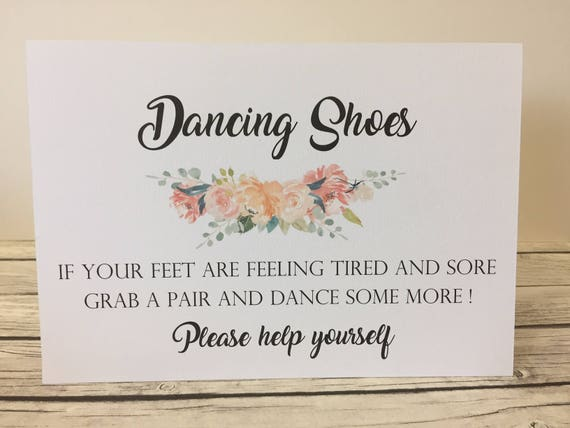 Pink Shabby Chic Dancing Shoes Flip-Flop Tired Feet Personalised Wedding Sign