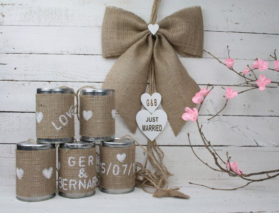 Tin can wedding car decorations rustic wedding decoration junglespirit Choice Image