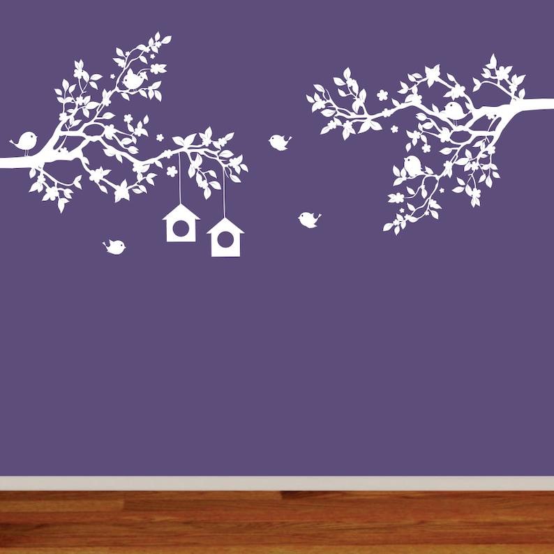 Nursery Branch Decals Birds and Birdhouses Vinyl Wall Art Flower Branches Baby Nursery Art Vinyl Branches
