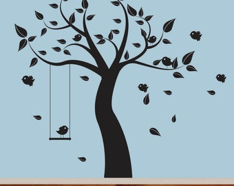 Nursery wall decal black tree with birds swing vinyl wall decal