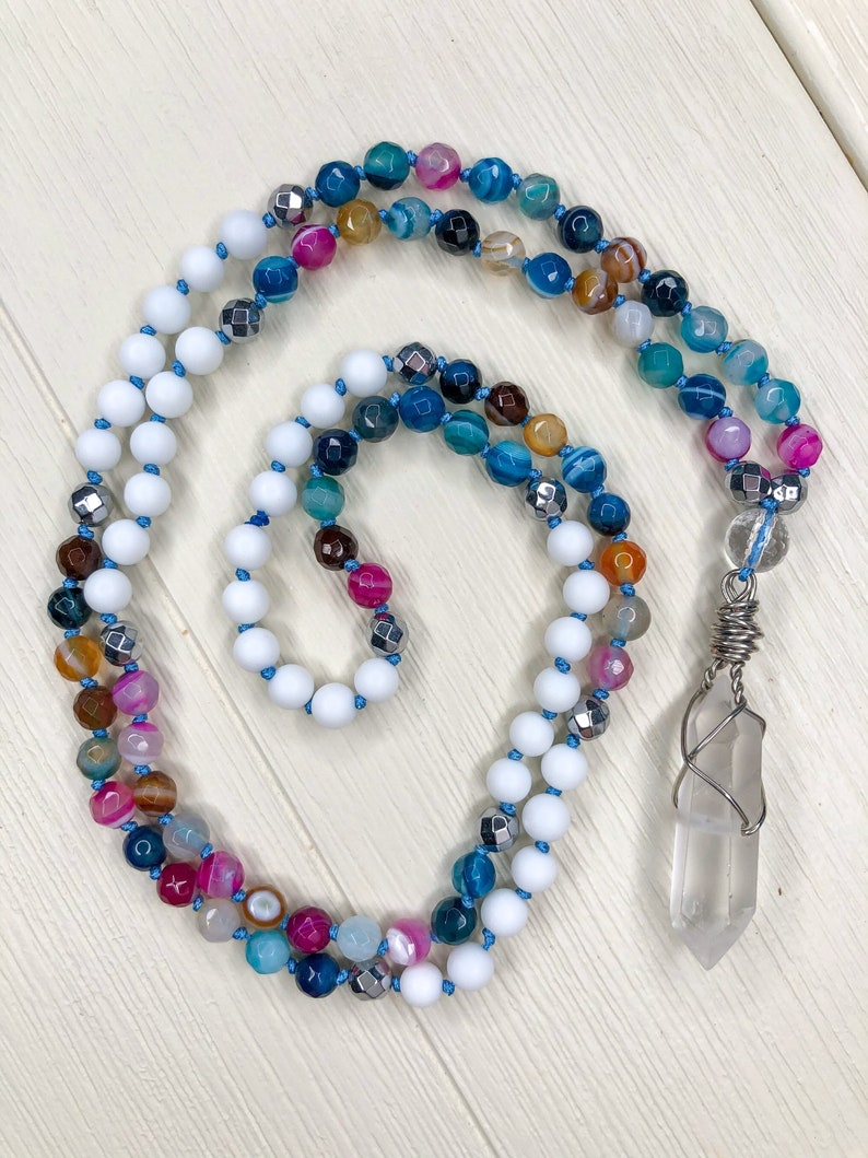 Faceted Hematite /& White Onyx Meditation Mala with Wire-Wrapped Quartz Pendant Faceted Agate small 6mm beads Balanced Strength