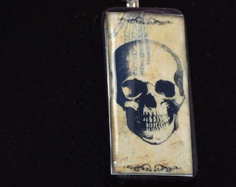 SKULL GOTHIC black Domino Pendant necklace ooak