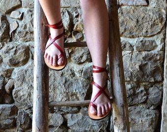 Women's leather sandals, barefoot sandals, women, red sandals,flat sandals, strap sandals, adjustable sandals, comfort sandals
