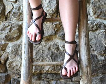 Women's sandals, Brown leather, barefoot sandals, platform sandals, women, strap sandals, adjustable sandals, comfort sandals