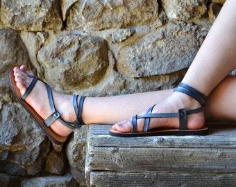 Blue Leather Women Sandals, barefoot sandals, women, brown sandals, flat sandals, strap sandals, adjustable sandals, comfort