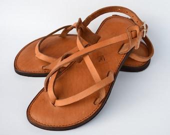 leather sandals, women's sandals, camel sandals, brown sandals, sandals, flat sandals, strap sandals, adjustable sandals, comfort sandals
