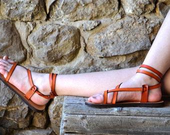 Orange Leather Women Sandals, barefoot sandals, platform, flat sandals, strap sandals, adjustable sandals, comfort sandals