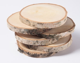 """10 birch slices  2""""- 3"""" , wooden slices, rustic wedding decoration, wood coasters,  wood discs for home decors"""