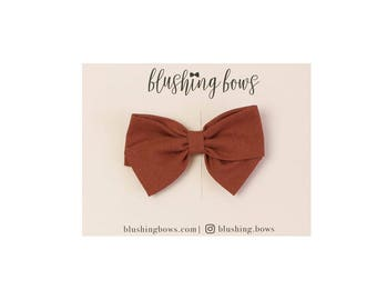 Cinnamon,  Hand Tied Fabric Bows, Baby Girl, Toddler, Girls Fabric Bow Headband or Hair Clip