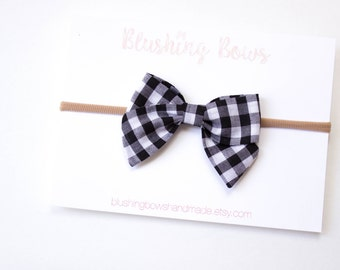 Gingham Fabric Bow, Checked Fabric Bow, Hand Tied Fabric Bows, Baby Girl, Toddler, Girls Fabric Bow Headband or Hair Clip