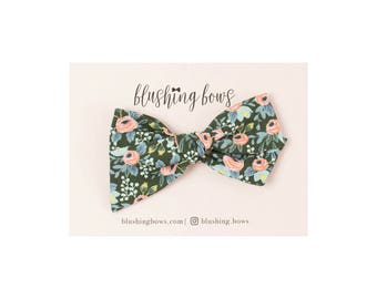 Hunter Rosa Rifle Paper Co,  Hand Tied Fabric Bows, Baby Girl, Toddler, Girls Fabric Bow Headband or Hair Clip