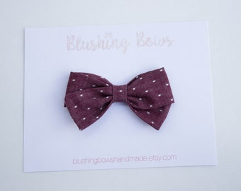 Maroon Dot Chambray Fabric Bow, Hand Tied Fabric Bows, Baby Girl, Toddler, Girls Fabric Bow Headband or Hair Clip
