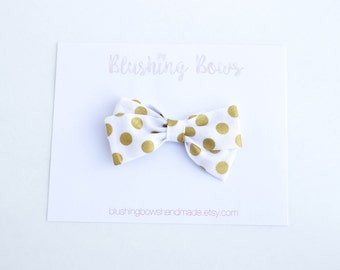 Gold Polka Dot Dot Fabric Bow, Hand Tied Fabric Bows, Baby Girl, Toddler, Girls Fabric Bow Headband or Hair Clip