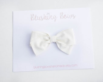 Ivory, Ivory  Hand Tied Fabric Bows, Baby Girl, Toddler, Girls Fabric Bow Headband or Hair Clip