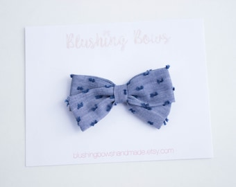 Blue Swiss Dot Fabric Bow, Hand Tied Fabric Bows, Baby Girl, Toddler, Girls Fabric Bow Headband or Hair Clip