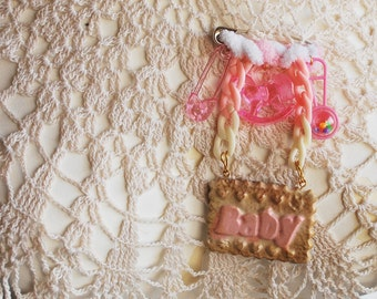 Baby Girl | Pink Brooch | With Charms