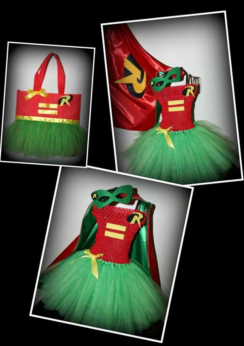 9823093a617 Batman Robin tutu dress costume with cape and mask baby girls