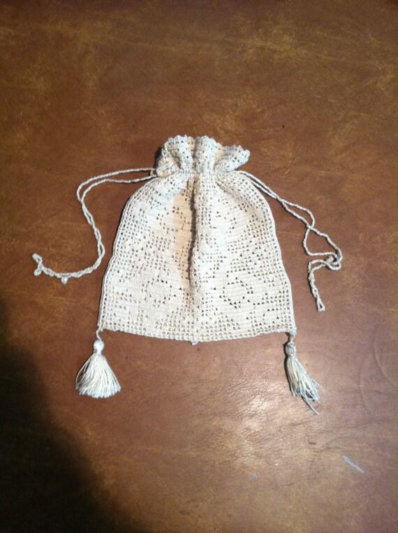 antique Filet crochet bag