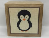 A Beautifully Hand Made Solid Oak Money Box Hand Decorated with a Cute Penguin Marquetry Design