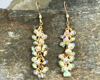 Ethiopian Fire Opal Gold Cluster Earring, Fire Opal Earring, Gold Opal Earring, October Birthstone Earring, Ethiopian Opal Earring