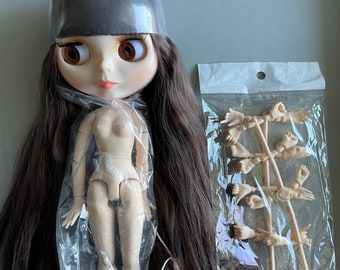 FLAWED Factory Blythe Doll dark brown hair Jointed Body Hands Parts for customizing