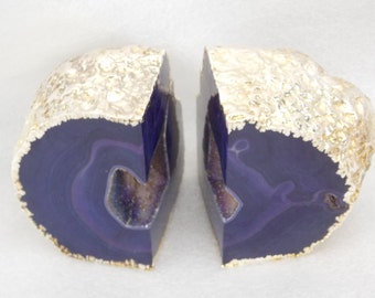 Deep Purple Gold Plated Agate Bookends