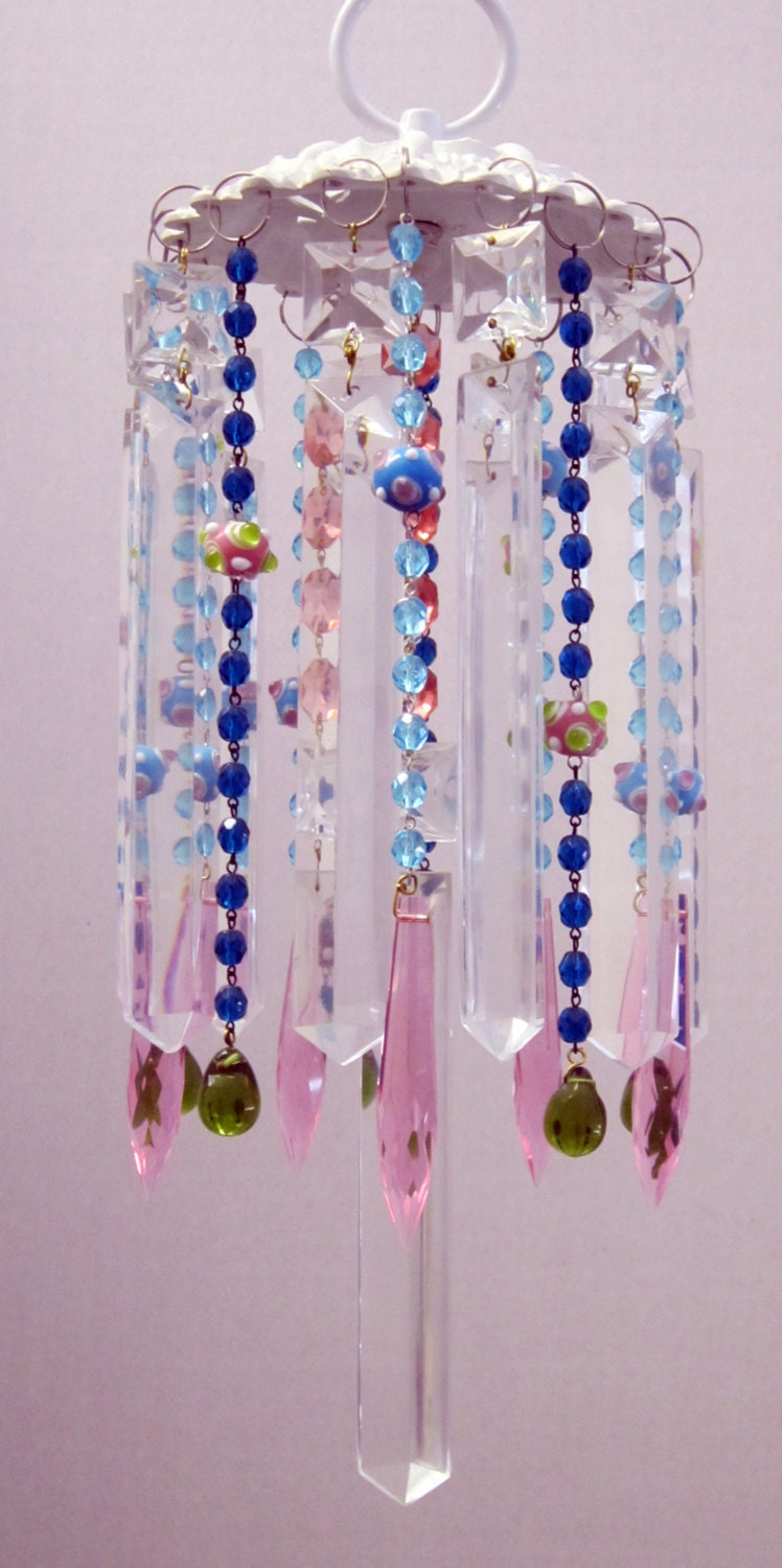Art Glass Beaded Suncatcher And Wind Chime With Lead Crystals