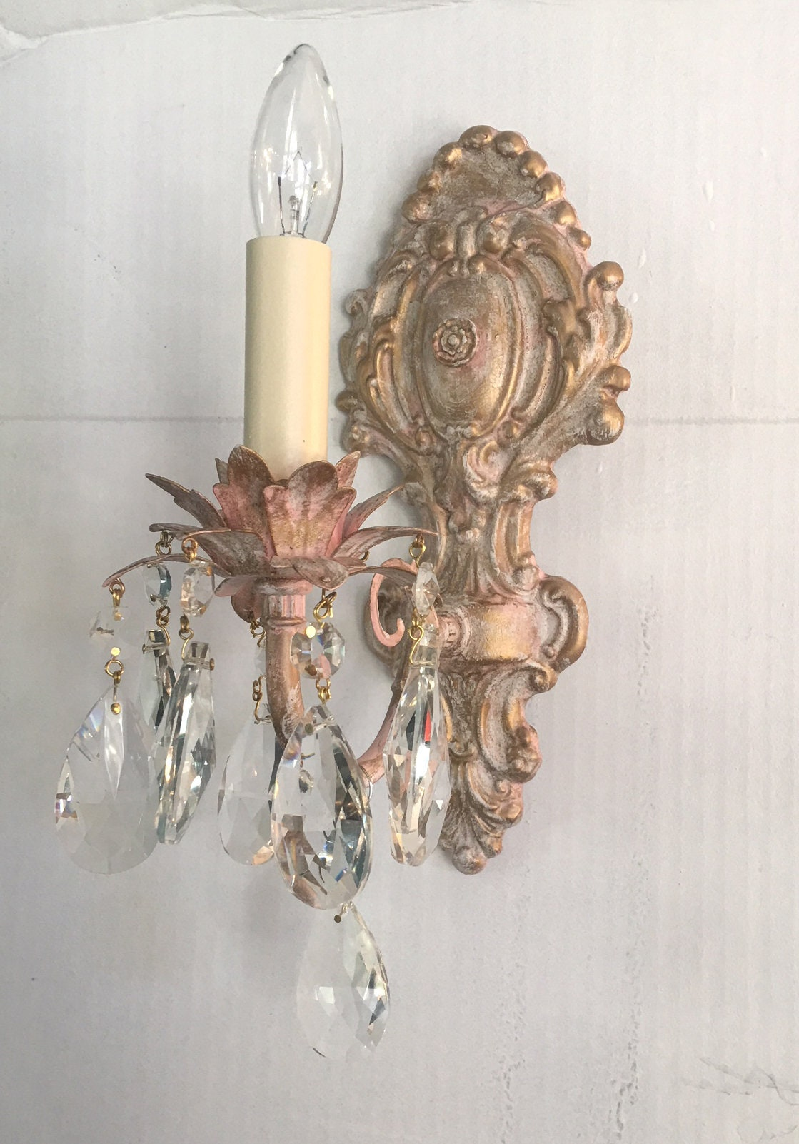 Custom Victorian Style Single Light Electric Wall Light Sconce Shabby Chic Style Pink Cream Gold Finish Clear Crystals Solid Brass