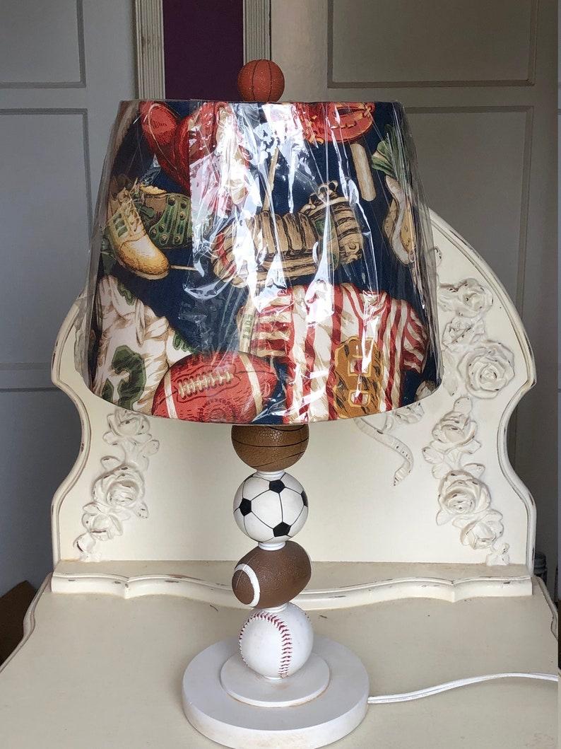 Nursery or Playroom with All Sport Drum Shade SAMPLE Sale ALL SPORT Custom Table Lamp for Boys Bedroom