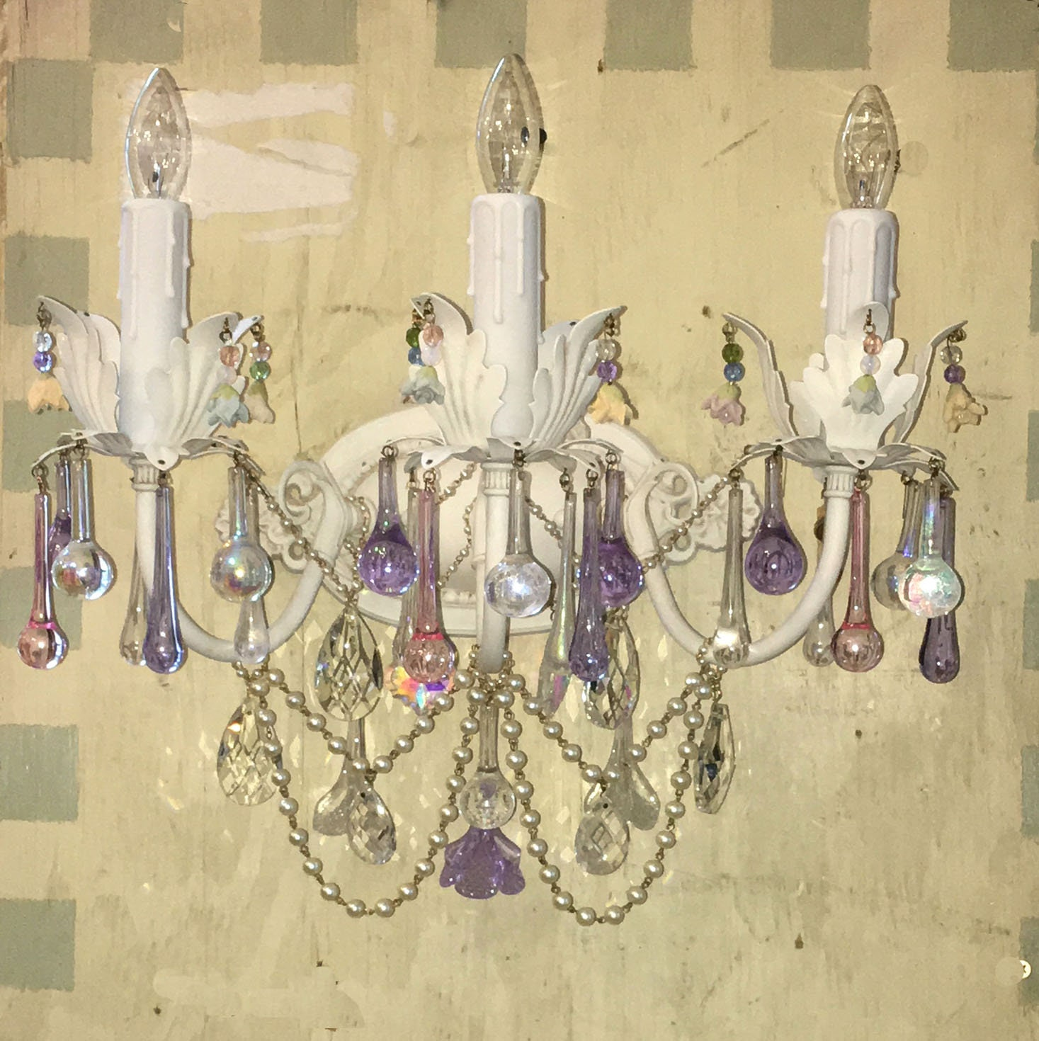 Sample Sale Shabby Chic 3 Light Electric Wall Sconce In Antique