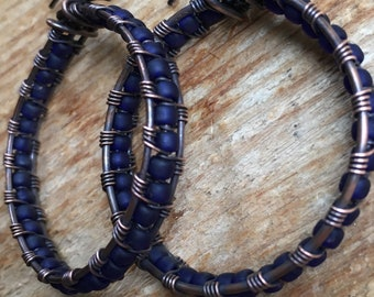 Woven Copper Hoops with blue glass beads
