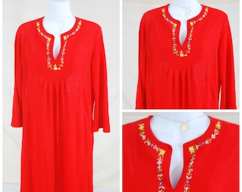 60s Embroidered Long Red Maxi Dress Woodstock / Bohemian Dress   Vintage Women's Spring / Summer Dress