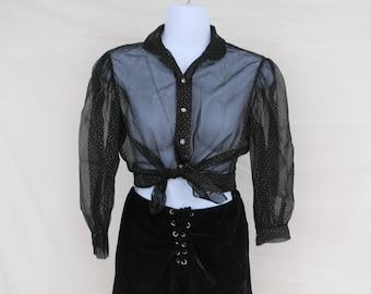 VTG Sheer Black Polka Dot Blouse   Vintage Mesh Top   Size Small